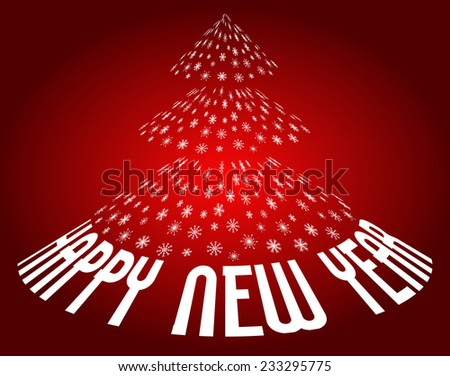 happy new year illustration on dark red background - stock vector