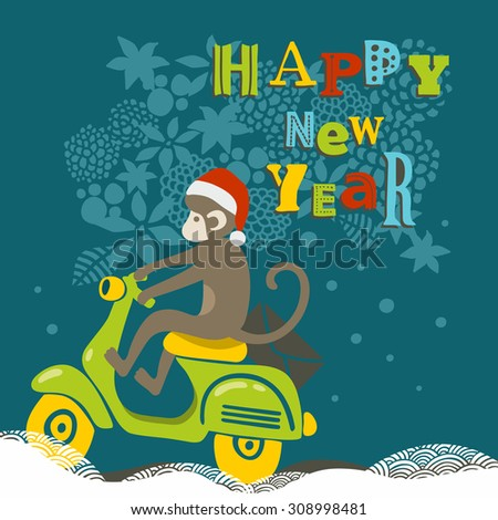 Happy New Year illustration with cute monkey on the scooter. Vector creative design. - stock vector