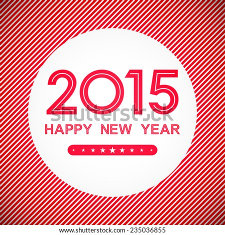 happy new year 2015 in circle with stripe line pattern on red background (vector)