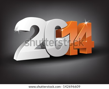 Happy new year 2014 in 3D with orange 14 and grey 20. (EPS10 Vector) - stock vector