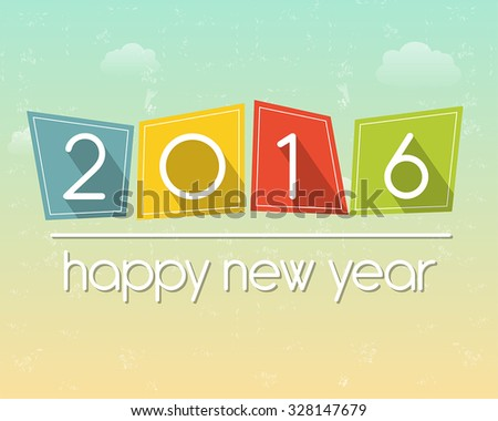 happy new year 2016 in flat colored tablets over cloudy sky background, holiday seasonal concept, vector - stock vector