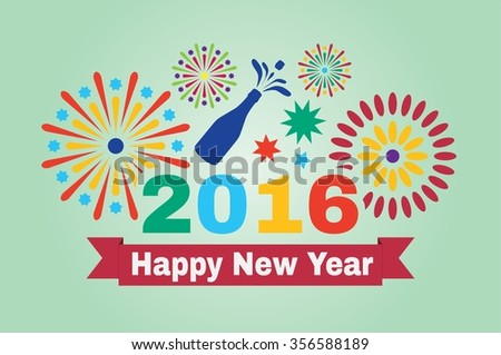 Happy New Year 2016. Inscription and fireworks in vector illustration. - stock vector