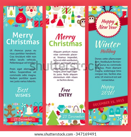 Happy New Year Invitation Template Flyer Set. Flat Design Vector Illustration of Brand Identity for Winter Holiday Promotion. Merry Christmas Colorful Pattern for Advertising. - stock vector