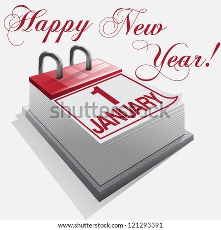 Happy New Year 1 January - stock vector