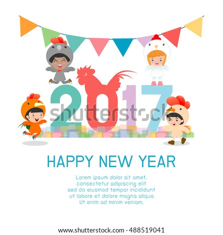 Happy New Year 2017 kids background, happy child with Happy new year 2017, rooster, Colorful Vector Illustration