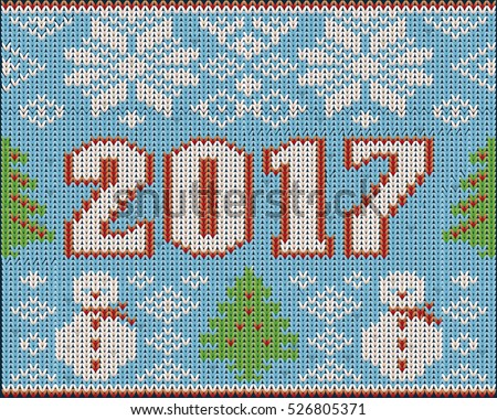 Happy new 2017 year knitting pattern, vector illustration