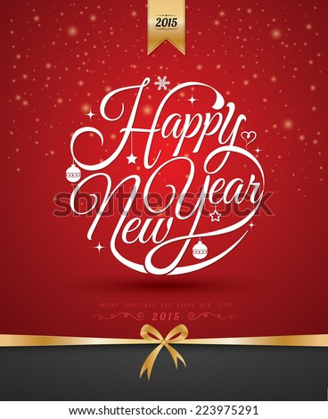 Happy New Year, lettering Greeting Card design circle text frame on red background, vector illustration. - stock vector