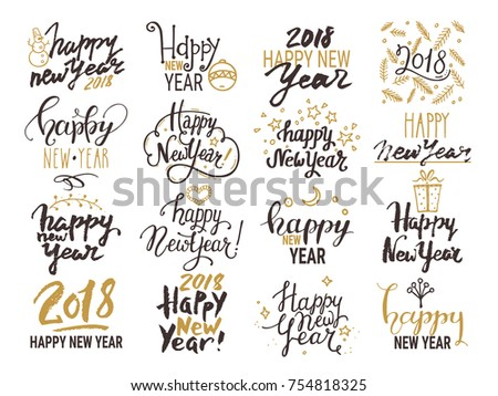 Happy New Year 2018 Lettering Handwritten Stock Vector Royalty Free