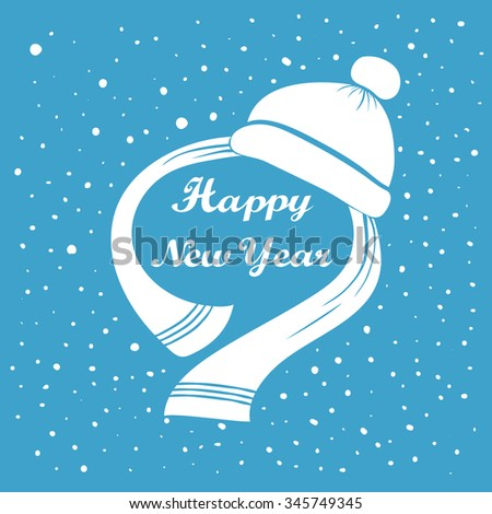 Happy New Year lettering. Holiday greeting card design. Hat, scarf and typographic message. Abstract background. Falling snow. Winter New year season label. Vector illustration - stock vector
