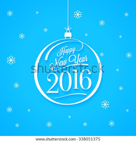 Happy New Year 2016. Lettering. Vector Illustration. - stock vector