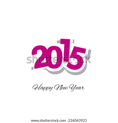 Happy New Year 2015 magenta logo vector