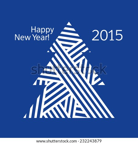 Happy New Year. Merry Christmas. Congratulation. Christmas tree. Christmas card. Vector illustration.
