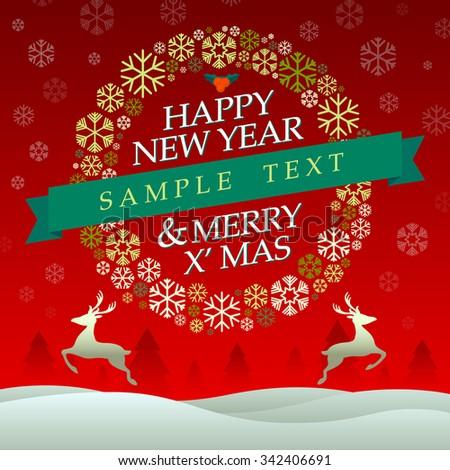 Happy New Year & Merry X'Mas Vector Illustration - stock vector