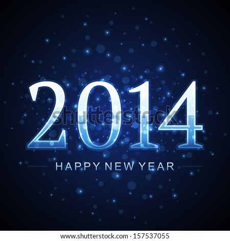 Happy new year - 2014 message and abstract light design vector background  - stock vector