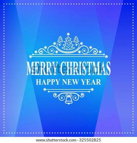 Happy new year message. Merry Christmas holidays wish. Greeting card, invitation, brochure, flyer design and vintage ornament decoration. Christmas retro typographic Christmas tree Vector illustration - stock vector