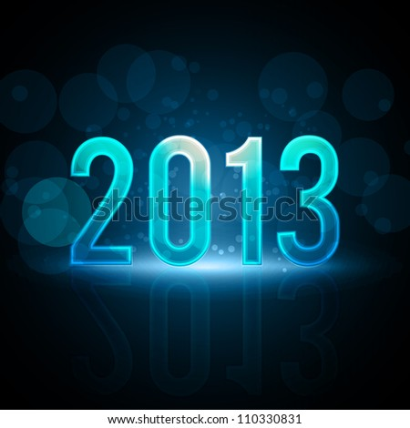 Happy New Year 2013 Message Neon Background | EPS10 Vector Illustration - stock vector