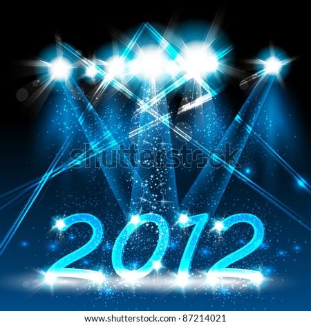 Happy new year 2012, neon stage design - stock vector
