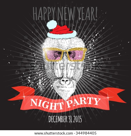 Happy new year night party poster. Mandrill monkey Hipster with glitter glasses and Christmas hat. Hand drawn sketch vector illustration for posters, invitations and party flayers.