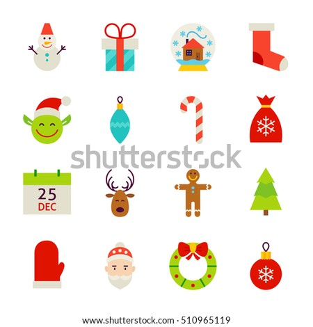 Happy New Year Objects. Vector Illustration. Winter Holiday. Collection of Symbols isolated over White.