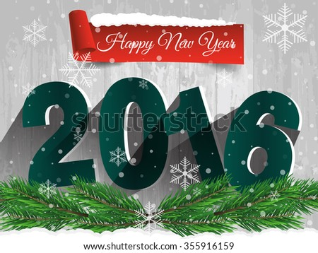 Happy New Year 2016 on a wooden table with snow. Vector EPS 10 - stock vector