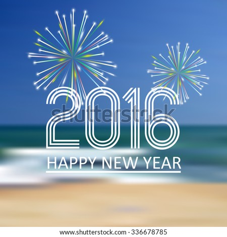 happy new year 2016 on the beach color background eps10 - stock vector