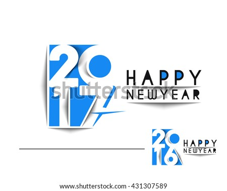 Happy new year 2017 or 2016 Text Design vector - stock vector