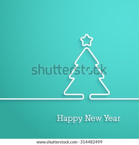 Happy New Year paper postcard. Vector illustration. - stock vector