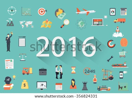 Happy New Year 2016 paper text with long shadow and business flat icons. Banner tamplate - stock vector