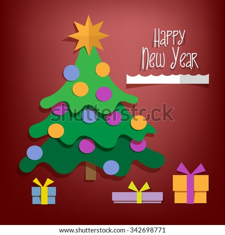Happy New Year paper tree design greeting card - vector illustration. Red background.