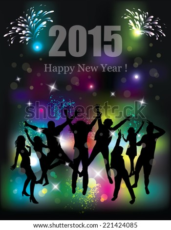 Happy new year 2015. Party background. Dancing people. - stock vector