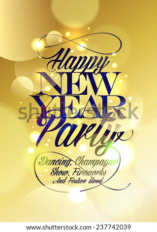 Happy new Year party design gold bokeh. - stock vector