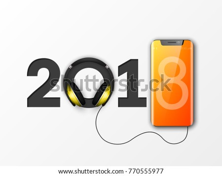 Happy new year 2018 phone headphones stock vector hd royalty free happy new year 2018 phone headphones smartphone banner greeting card telephone design template 2018 m4hsunfo