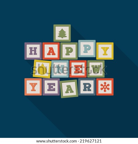 Happy New Year poster design with wooden blocks. Vector illustration - stock vector