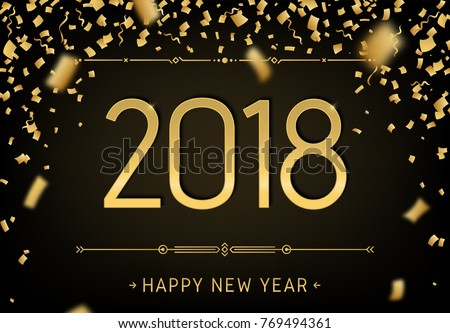 Superior Happy New Year 2018 Premium Design. Greeting Card Template 2018 With Golden  Glitter Confetti.