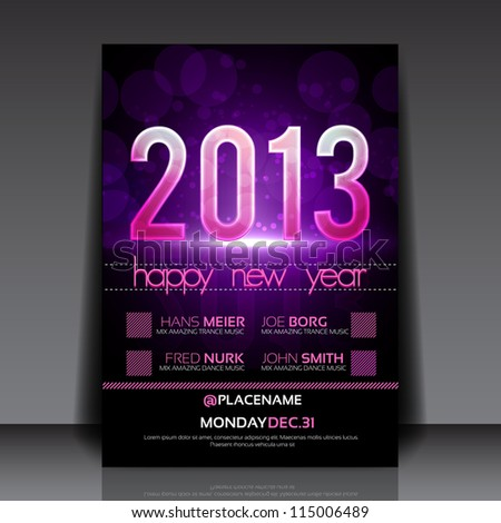 Happy New Year 2013 Purple Vector Editable Flyer Template - stock vector