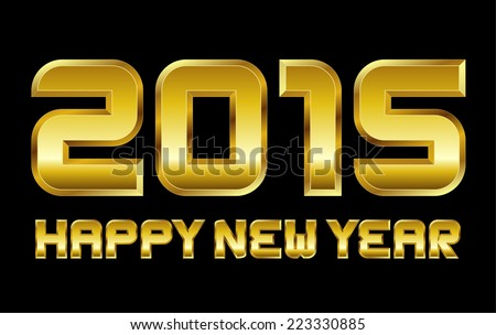 happy new year 2015 - rectangular beveled golden font, vector