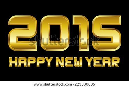 happy new year 2015 - rectangular beveled golden font, vector - stock vector