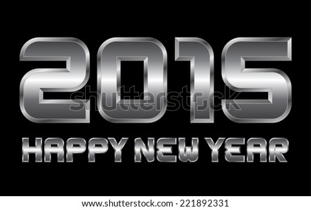 happy new year 2015 - rectangular beveled metal font, vector, blurry reflections - stock vector