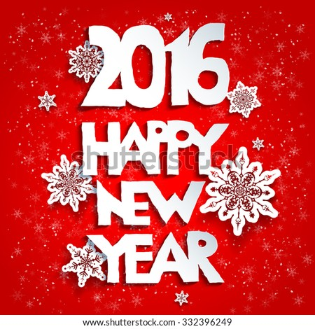 Happy new year red background. 2016 year.Happy new year. Design for card, banner, invitation, leaflet and so on. - stock vector