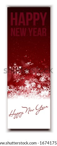 Happy New Year Red Banner Template - stock vector