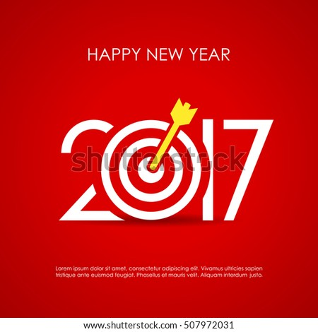 Happy new year 2017 red vector greeting card, reaching goals motivational poster design. 2017 card. Happy 2017 new year. Target 2017 sign. Success 2017 idea.