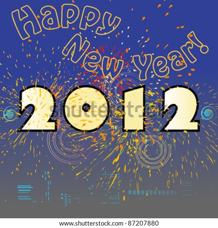 Happy New Year retro card with skyline and fireworks, 2012 - stock vector