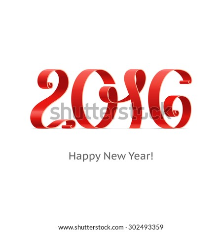 Happy New Year 2016 ribbon on a isolated white background. Vector illustration.