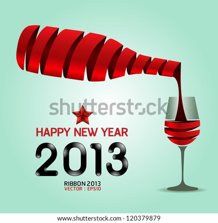 Happy new year 2013 ribbon wine bottle shape  / Vector illustration. concept - stock vector