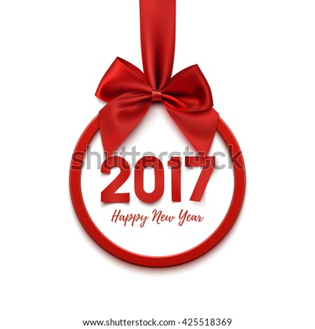 Happy New Year 2017 round banner with red ribbon and bow, on white background. Christmas tree decoration. Greeting card template. Vector illustration. - stock vector