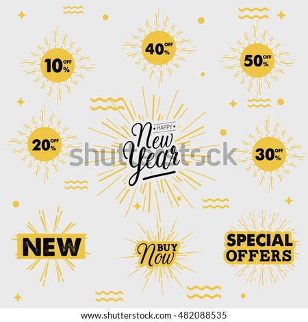 Happy new year Sale. Drawn lettering. Vector typography. Usable for cards and posters, sale banners, billboards and sale signs.vector illustrator