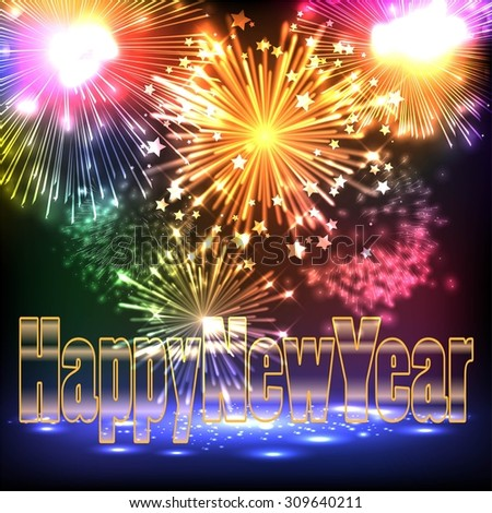 Happy New Year! Salute- vector isolated on black background - stock vector