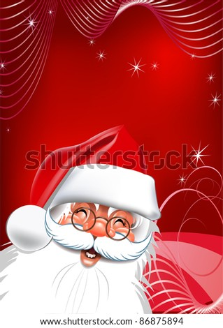 Happy new year. Santa Claus on Christmas Eve a red background Background.  Vector for your design. Vector drawing - stock vector