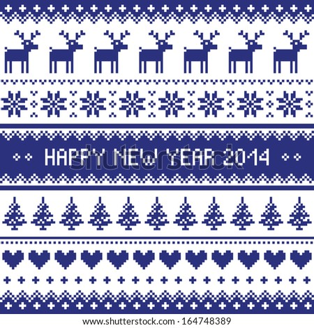 Happy New Year 2014 - Scandinavian Christmas pattern  - stock vector