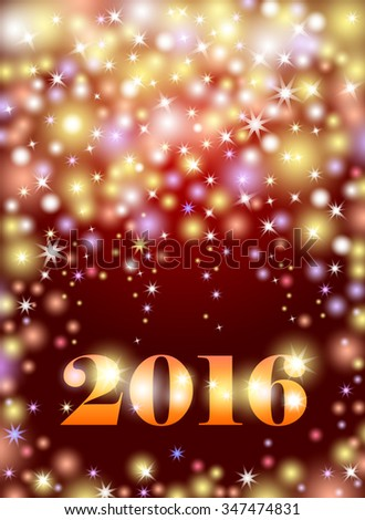 Happy New 2016 Year. Seasons greetings, colorful fireworks design. Abstract bokeh background with lights, shining stars and bright glow on purple - stock vector